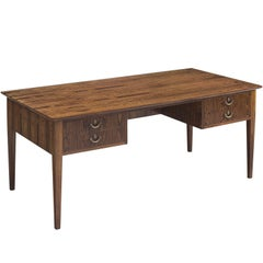 Danish Extendable Rosewood Writing Table with Brass Details