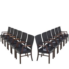 Rare Set of Twelve Danish High Back Solid Rosewood Dining Chairs