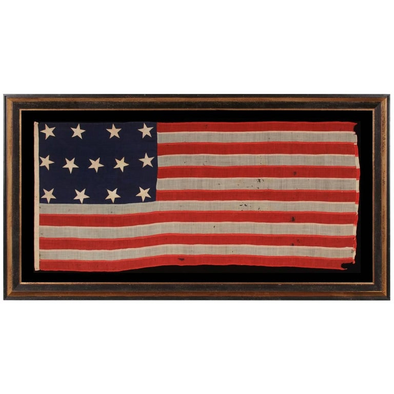 13 Entirely Hand-Sewn Stars, U.S. Navy Small Boat Ensign of the Civil War Period