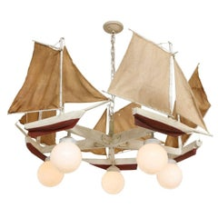 American Five-Light Sailboat-Form Chandelier