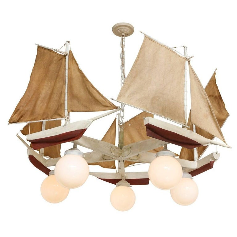 American Five-Light Sailboat-Form Chandelier For Sale