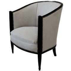 Stylish French Art Deco Ebonized Tub Chair, circa 1930