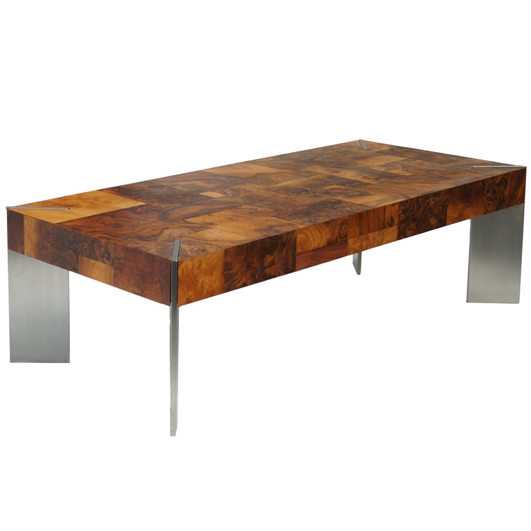 Burl Wood Patchwork Mid-Century Modern Coffee Sofa Table Style of Paul Evans