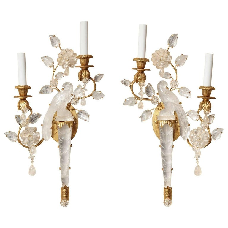 Pair of New Bagues Style Two-Light Rock Crystal Sconces 1