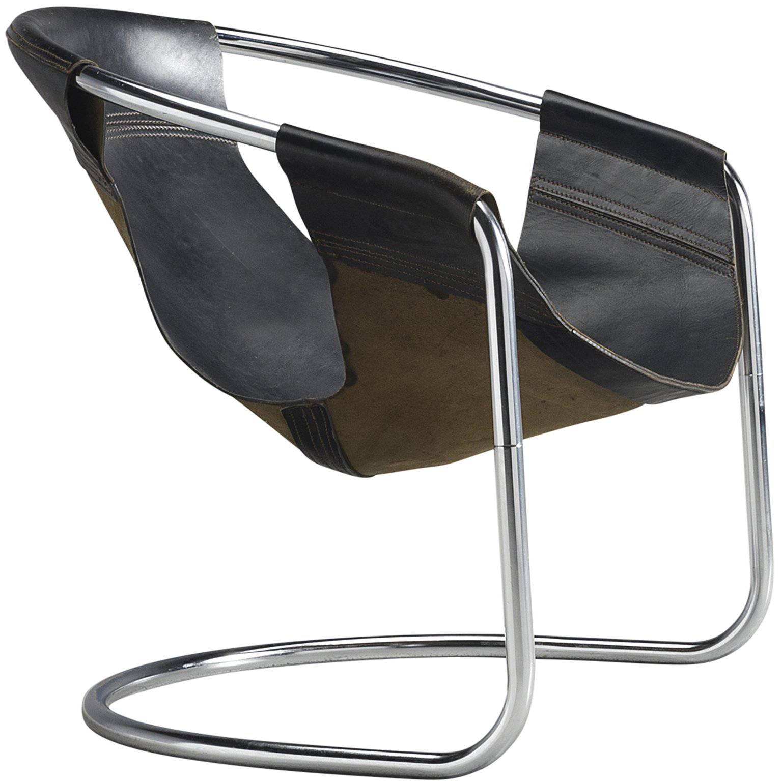 Beau Clemens Claessen Ba As Black Leather Tubular Chair