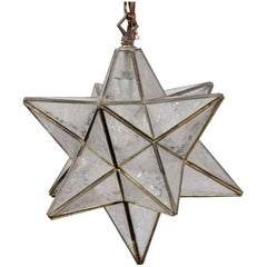 French Mid-Century Star Light Pendant with Metal Frame and Etched Glass Panels