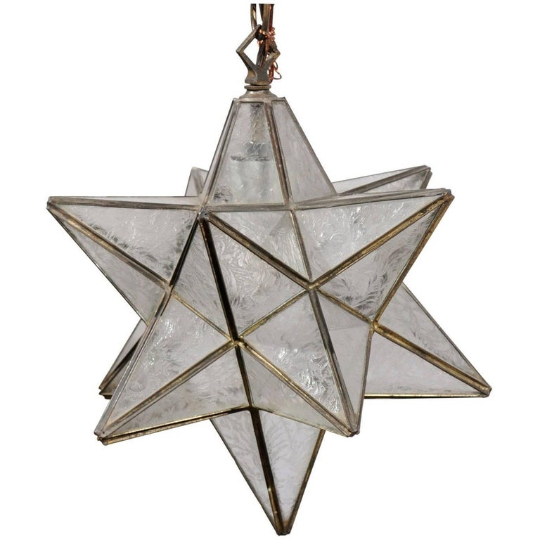 French Mid Century Star Light Pendant With Metal Frame And