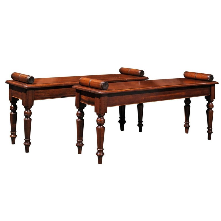 English Mid-19th Century Wooden Hall Benches with Cylindrical Armrests