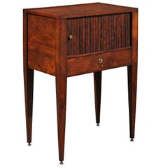 English 1880 Wooden Side Table with Tambour Door, Single Drawer and Tapered Legs