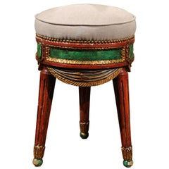 Venetian Red and Green Painted Wood Upholstered Stool with Gilt Accents
