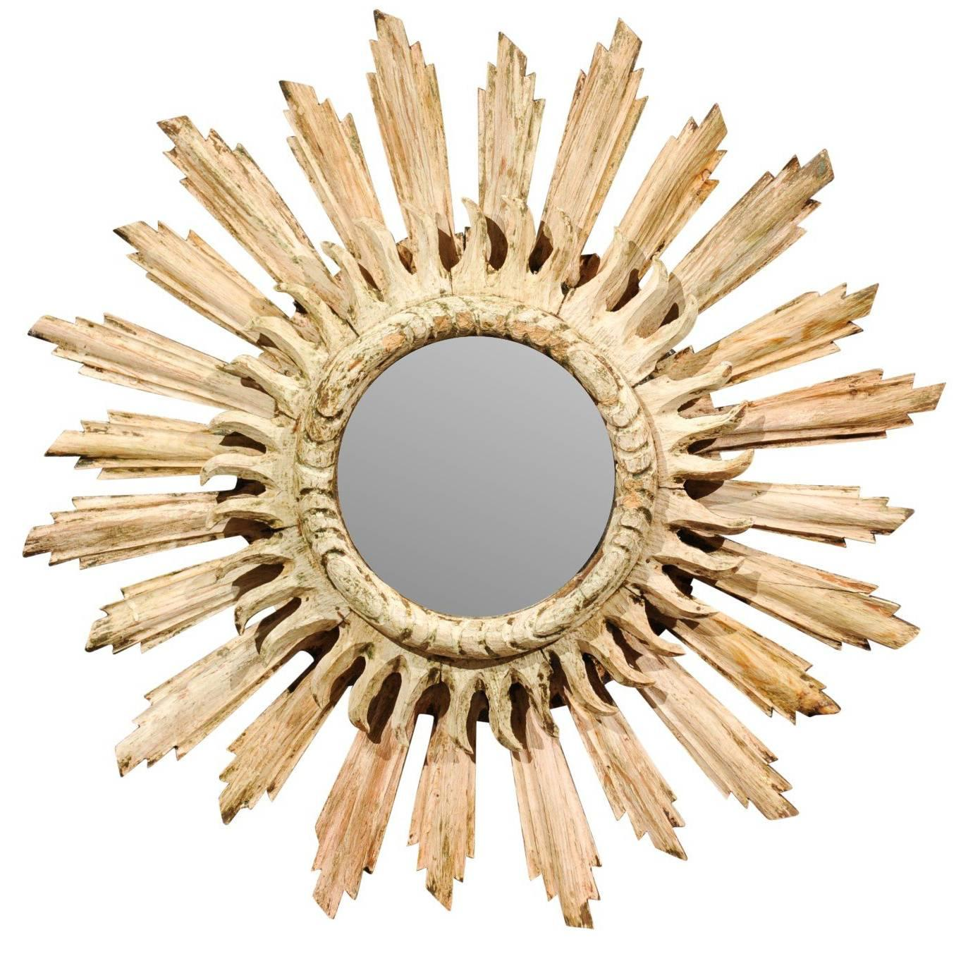 Vintage Italian Sunburst Mirror with Wavy Rays from the Mid-20th ...