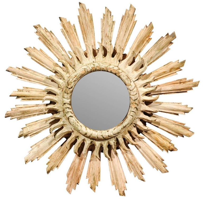 French Bleached Wood Double Layered Sunburst Mirror from the Early 20th Century