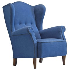Danish Easy Chair in Blue Original Upholstery