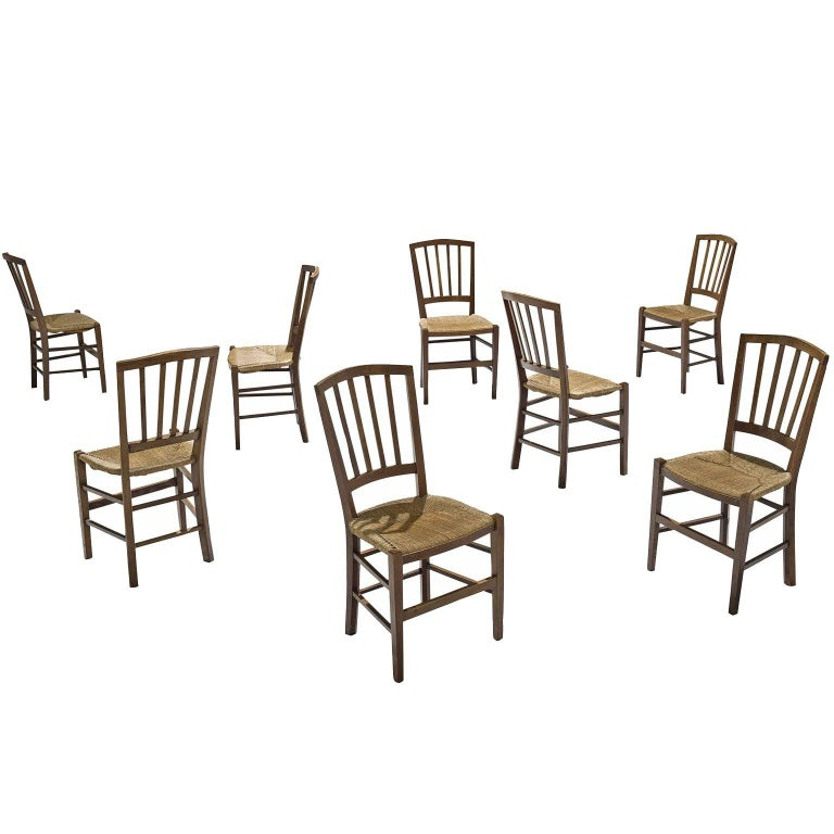 Large Set of Oak Dining Chairs, 1960s