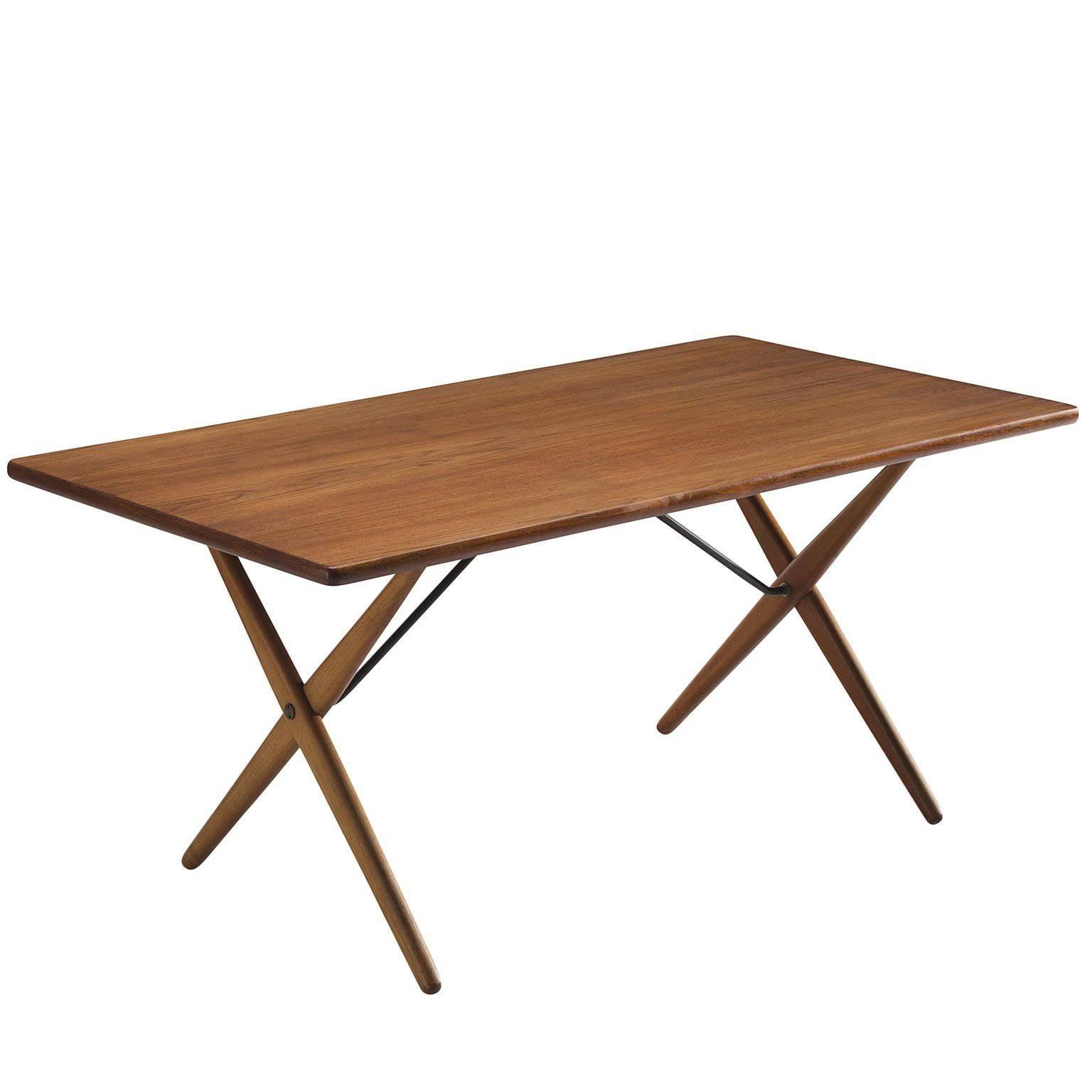 Hans Wegner Cross Leg Table In Teak, 1955 1