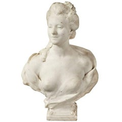 Beautiful White Marble Bust of French Aristocratic Woman, Signed Mercie