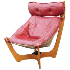 High Back Red Luna Lounge Chair by Odd Knutsen