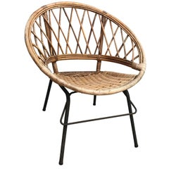French Vintage Wicker Loop Chair
