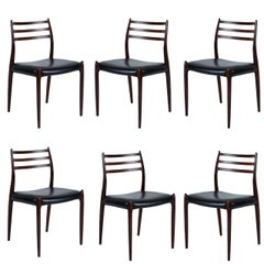 Set of Six Niels Møller Dining Chairs Model #78