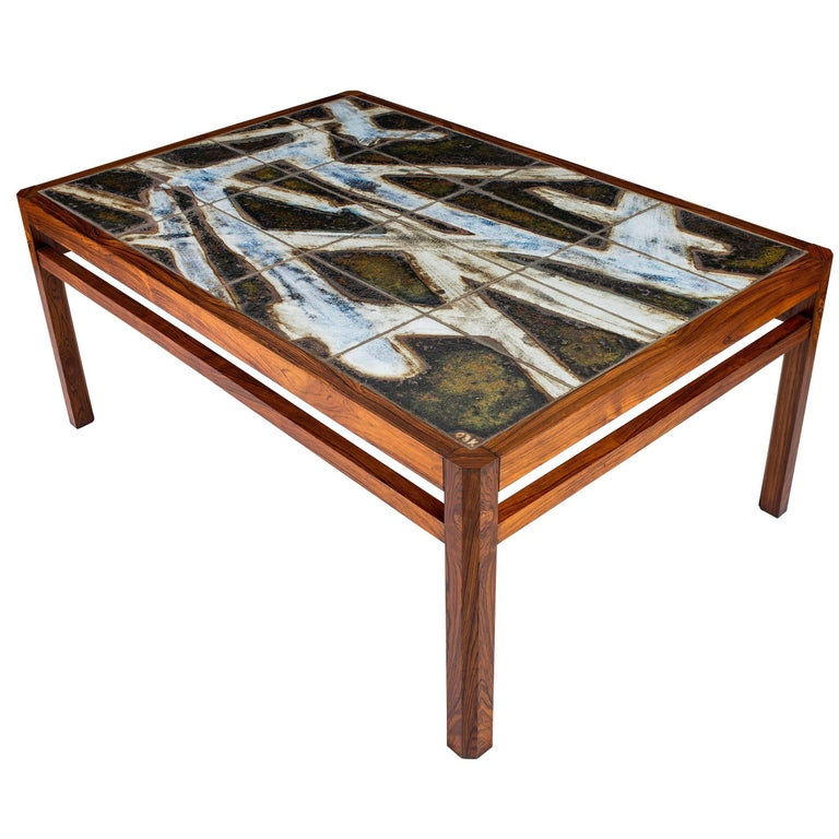Danish Abstract Tile Coffee Table For Sale At 1stdibs
