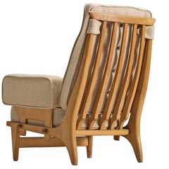 Guillerme & Chambron Carved Oak Lounge Chair, 1950s