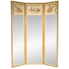 Neoclassical Three Part Mirror in Carved Wood and Gesso