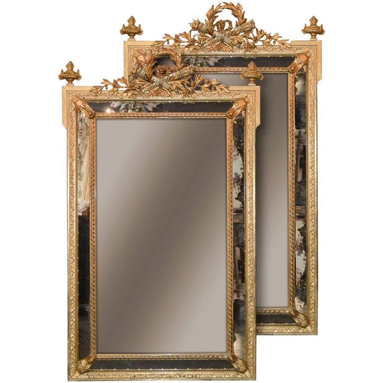 Rare Pair of 19th Century French Louis XVI Mirrors