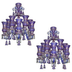 Fine Pair of Austrian Painted and Enameled Glass Chandeliers