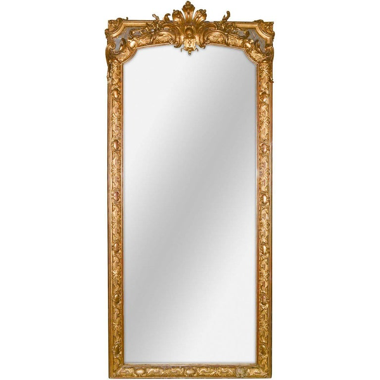 19th Century Palatial French Louis XV Hall Mirror