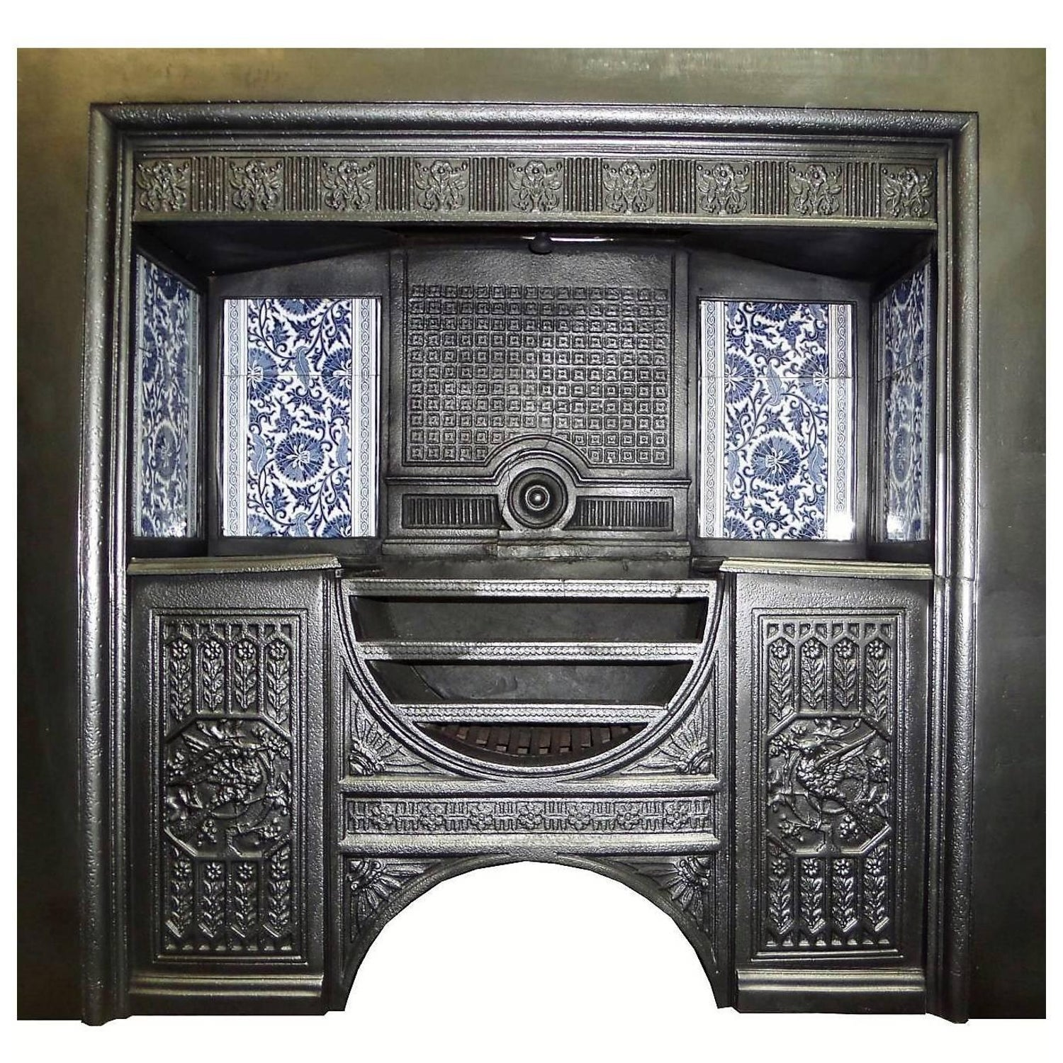 19th century victorian hob grate fire insert with william morris