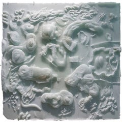 'Carved Cast 3' Cast Glass Relief Sculpture