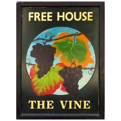 "English Pub Sign ""The Vine, Free House"""