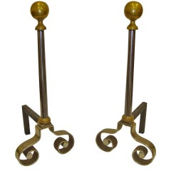 19th Century Pair of French Iron and Brass Chenets or Andirons
