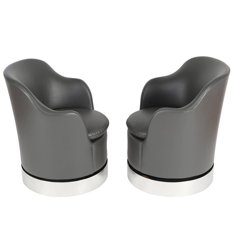 Pair of 1980s Phillip Enfield Tilt and Swivel Barrel Chairs on Casters