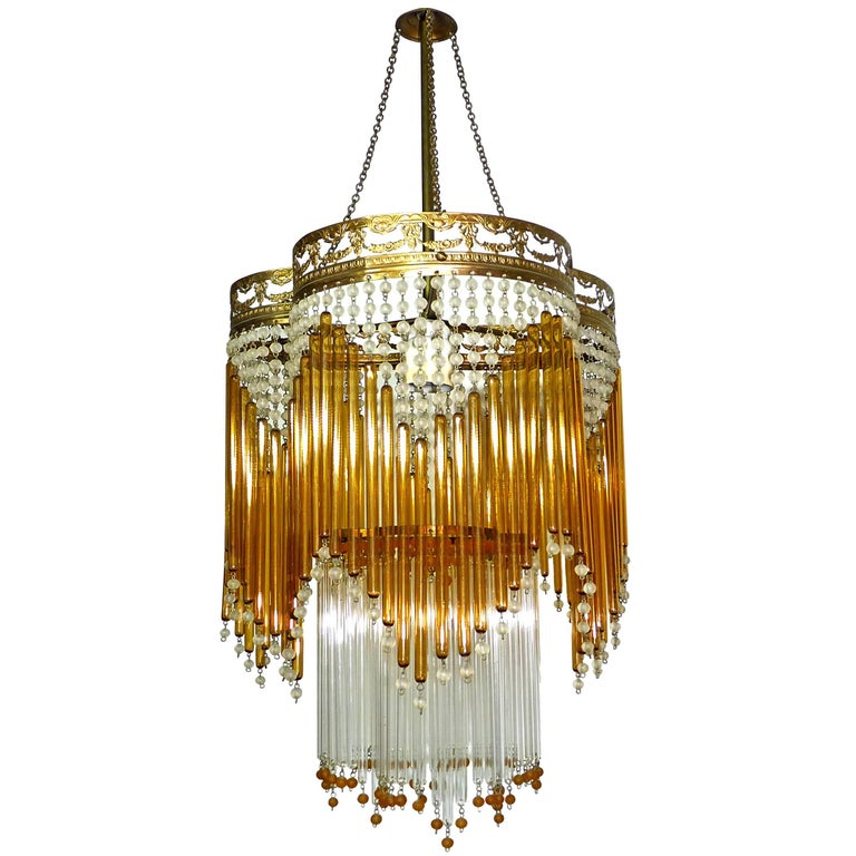 Italian Art Deco/Art Nouveau Amber and Clear Beaded Glass Murano Chandelier