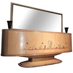 Italian Art Deco Sideboard with Mirror, Italy, 1940