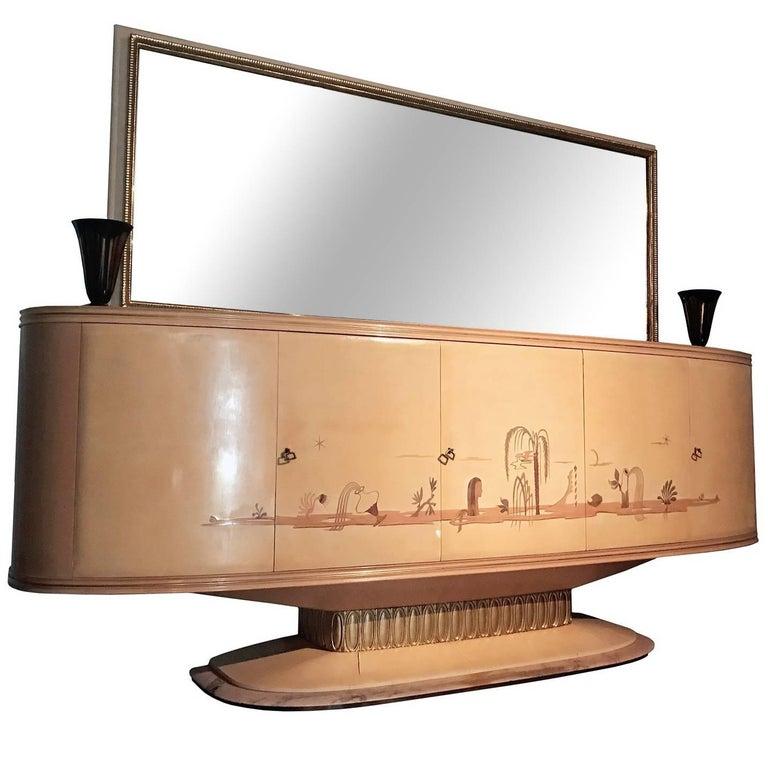 Italian Art Deco Sideboard with Mirror, Italy, 1940