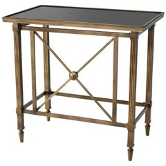 Smart Side Table in Antique Brass Finish and Granite Top