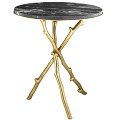 Wood of Gold Side Table with Black Marble Top
