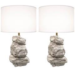 Pair of 1980s Sculptural Rock-Form Lamps