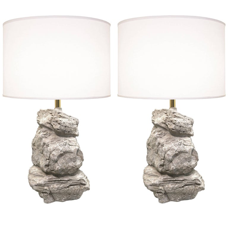 Pair of 1980s Sculptural Rock-Form Lamps