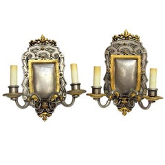 1900s Pair of EF Caldwell Gilt and Pewter Bronze Caldwell Sconces