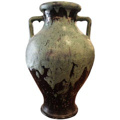 Hand Thrown Blue Green Stoneware Urn or Vase