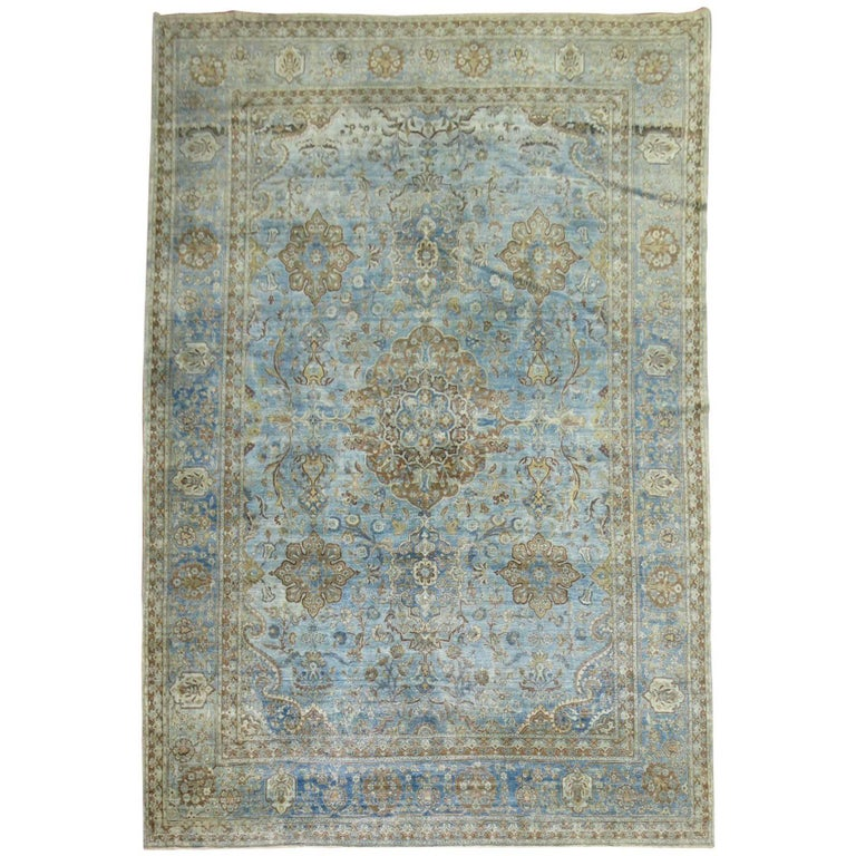 Powder Blue Antique Persian Tabriz Shabby Chic Rug