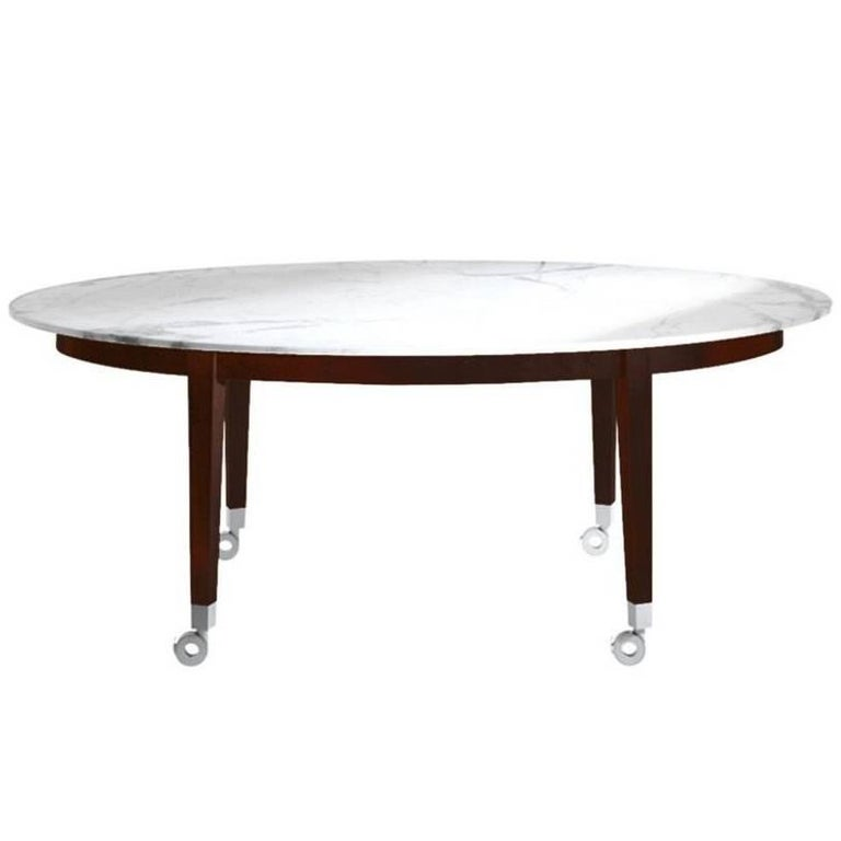 """""""Neoz"""" Carrara Marble Castored Dining Table Designed by P. Starck for Driade"""