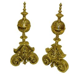 Pair of Polished Brass Chenets or Andirons, 19th Century