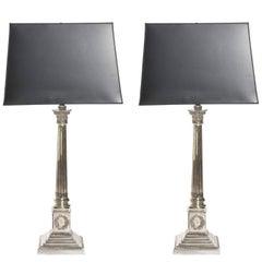 1930s Pair of Silver Corinthian Column Lamps