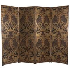 19th Century Tooled Mudéjar Style Leather Screen