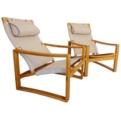 Very Rare Pair of Mid-Century Børge Jensen & Sønner 'Safari' Lounge Chairs