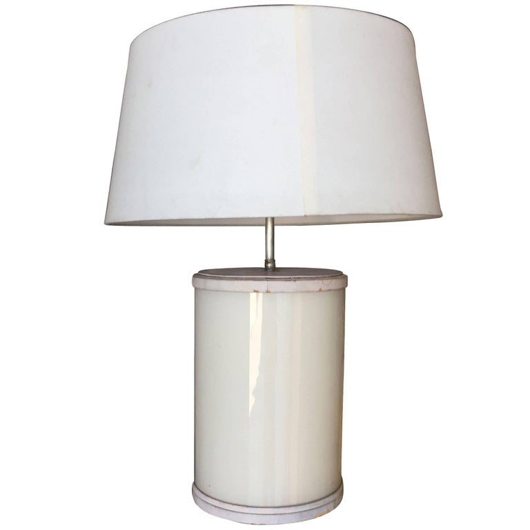 Paul Frankl Custom White glass and Leather Table Lamp